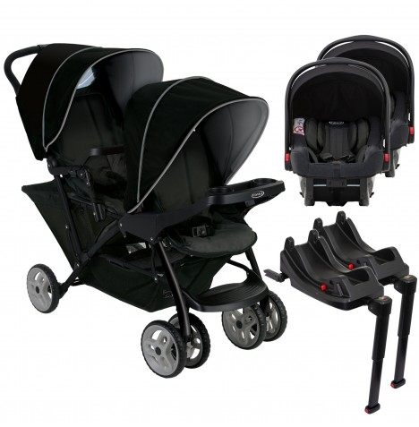 Graco Stadium Duo Double Pram Twin Travel System with 2 Snugride i-Size Car Seat Bases - Black / Grey